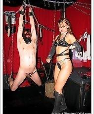 Rebeka tortures severely her tied-up slave`s dick.