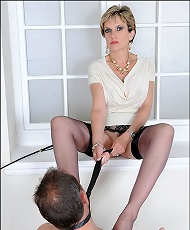 Dominated by nylons leg mistress