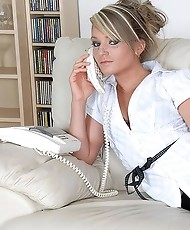 Nylons blonde office boss